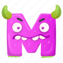 capital letter, children education, english alphabet, m monster, unhappy m icon