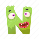 capital letter, children education, english alphabet, n monster, scared n icon