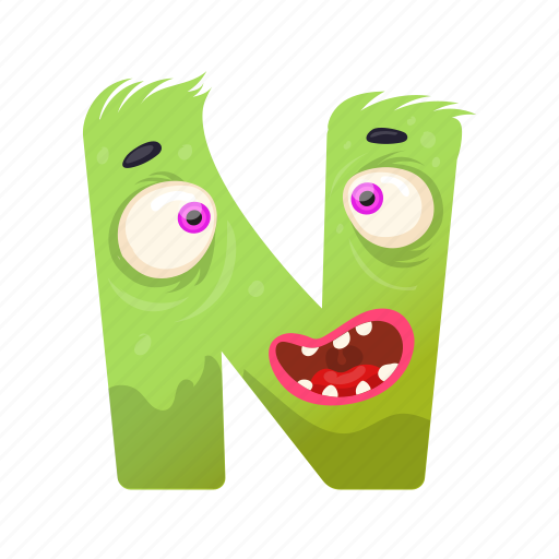 capital letter, children education, english alphabet, n monster, scared n icon