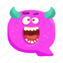 capital letter, children education, english alphabet, monster q, shouting q icon