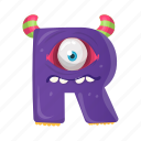 capital letter, children education, english alphabet, monster r, terrific r icon