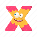 capital letter, children education, english alphabet, funny x, monster x icon
