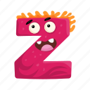 capital letter, cartoon z, children education, english alphabet, monster z icon