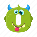 children education, digital number, funny zero, mathematics, monster 0 icon
