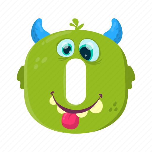 children education, digital number, funny zero, mathematics, monster 0 icon