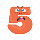 children education, english alphabet, mathematics digit, number 5, scared five icon