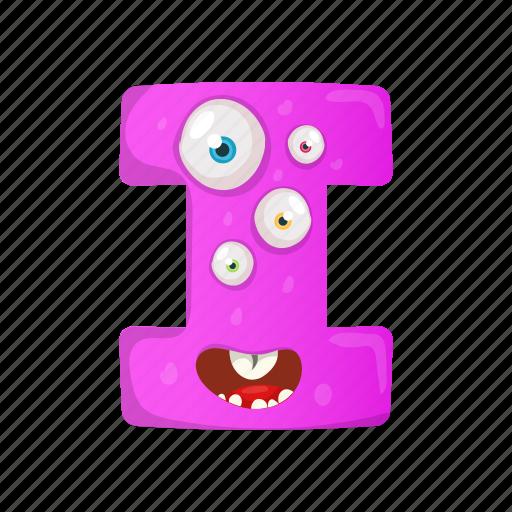 anxious i, capital letter, children education, english alphabet, multiple eyes i icon