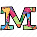 alphabet letter m, capital letter, capital letter m, colored alphabet, m icon
