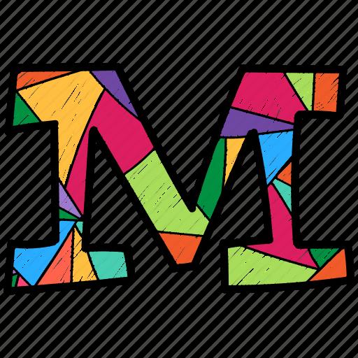 Alphabet Letter M Capital Colored Icon