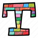 alphabet letter t, capital letter, capital letter t, colored alphabet, t icon