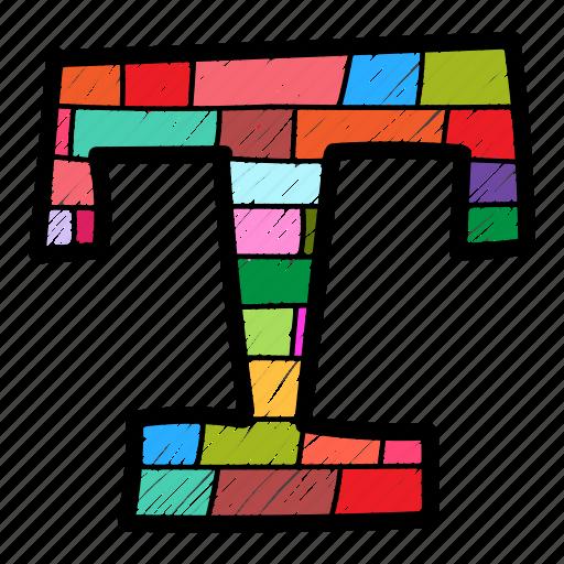 Alphabet letter t, capital letter, capital letter t, colored