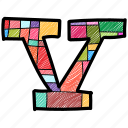 alphabet letter v, capital letter, capital letter v, colored alphabet, v icon