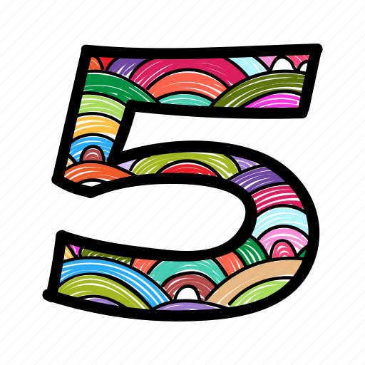 counting, five, number, numeric, numerical digit icon