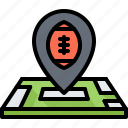 american, football, location, map, pin, rugby, sport icon