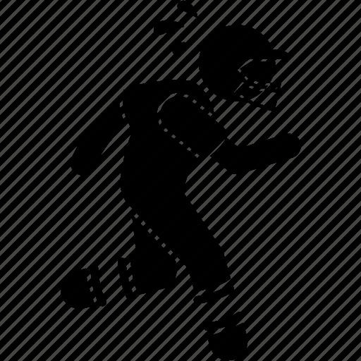 american, football, player, run, slow icon