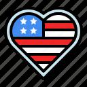 america, badge, country, flag, heart, nation, usa