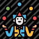 circus, entertainment, fun, hands, juggling icon
