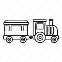 fun, kid, line, locomotive, outline, park, train icon