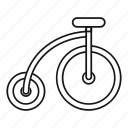 bicycle, bike, circus, highwheel, line, outline, ride icon