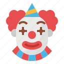clown, carnival, party, fairground, costume icon
