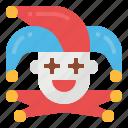 clown, costume, hat, jester, joker icon