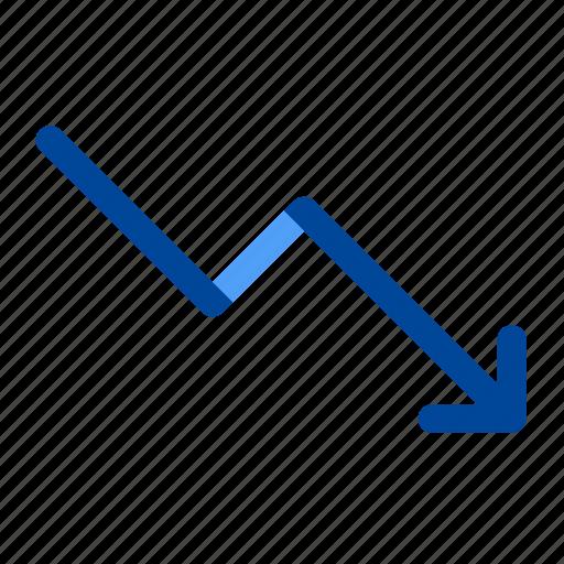 decrease, down, fall, graph, reduction, report, statistics icon