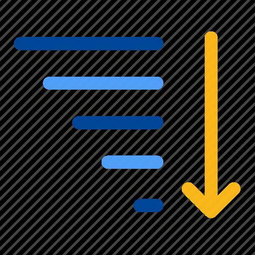 alphabetize, descending, descent, filter, row, sort, sorting icon