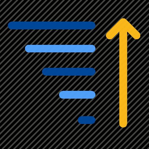 alphabetize, ascending, ascent, descending, row, sort, sorting icon
