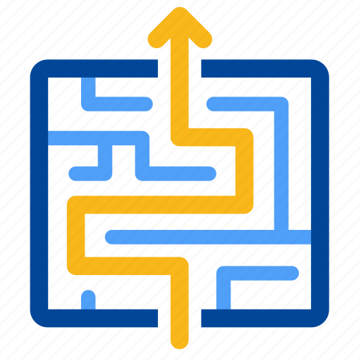 exit, labyrinth, maze, solution, solve, strategy, way out icon