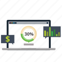 business, diagram, discount, graph, laptop, price, statistics icon
