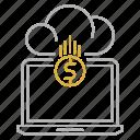 coin, computer, database, funding, money, platform icon