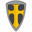 cross, religion, roman, shield, weapon icon