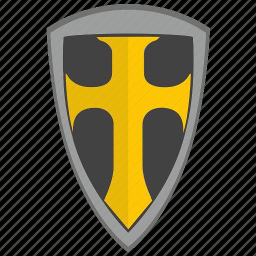 cross, religion, roman, shield, weapon icon