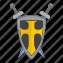 army, cross, roman, shield, sword, weapon icon