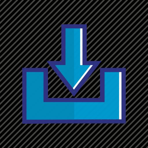 blue, down, download, save, storage, upload icon