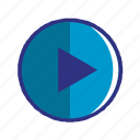 blue, media, multimedia, play, player, video icon
