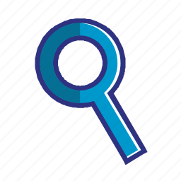 blue, glass, magnifier, magnifying, search, zoom icon