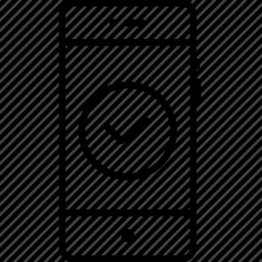 accept, check, mobile, success, successful, tick, verified icon