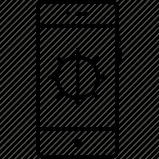adjust, brightness, control, half, interface, light, mobile icon