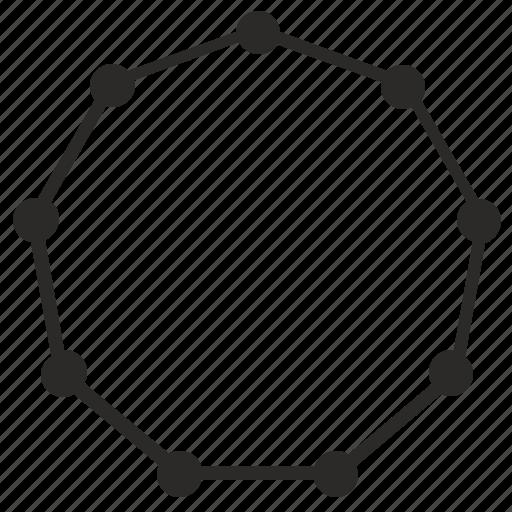 border, curves, dots, form, geometry, octagon, regular icon
