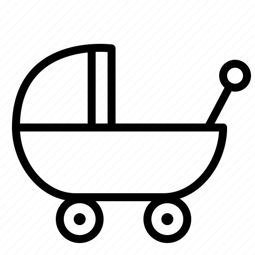 aniacons, baby, carriage, carrier, infant, stroller, wheel icon