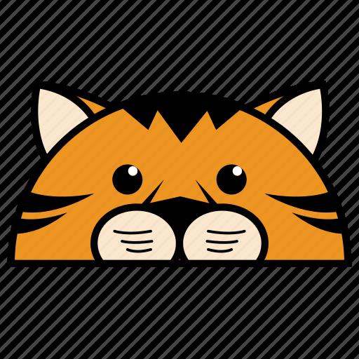 animal, binatang, ikon, rounded, tiger, warna icon