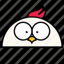 animal, binatang, bird, chicken, ikon, rounded, warna icon