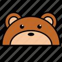 animal, bear, binatang, ikon, rounded, warna icon