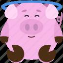 emotion, emoji, emoticon, animal, angel, pig icon