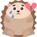 broken, emoji, emoticon, emotion, heart, hedgehog icon