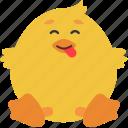 animal, cheeky, chick, emoji, emoticon, emotion icon