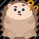 animal, confused, emoji, emoticon, emotion, hedgehog