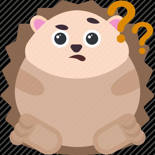 animal, confused, emoji, emoticon, emotion, hedgehog icon