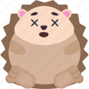 animal, dead, emoji, emoticon, emotion, hedgehog